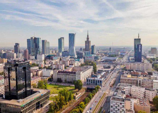 Zdjęcie Warszawy z drona