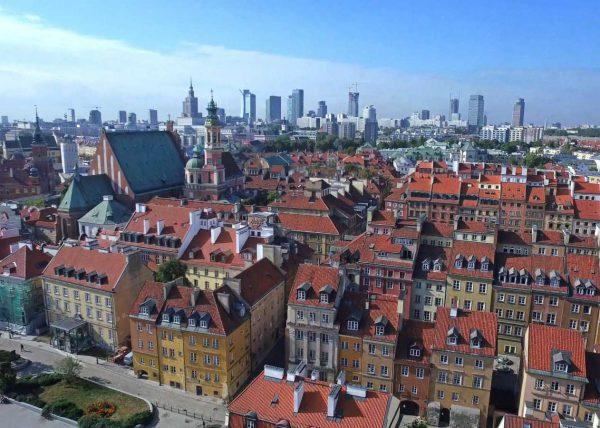 Zdjęcie z powietrza z dzielnicy Warszawy